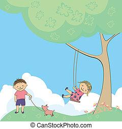 vettore, gioco, bambini, natura