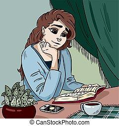 vettore, giovane, illustrazione, libro, lettura, signora