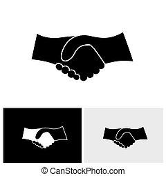 vettore, grafico, affari, &, -, mano, concetto, nero, scuotere, bianco, icona