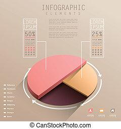 vettore, grafico, astratto, 3d, torta, infographics