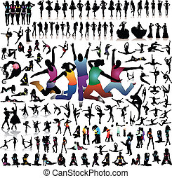 vettore, grande, silhouette, set, persone