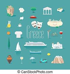 vettore, greco, limiti, set, icone