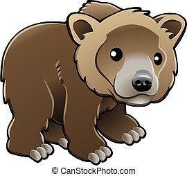 vettore, grigio, orso marrone, carino, illustrazione