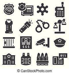 vettore, grigio, set, polizia, icone