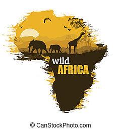 vettore, grunge, manifesto, africa, illustrazione, fondo, selvatico