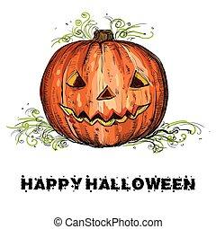 vettore, halloween, disegno, mano, zucca