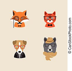vettore, hipster, set, animali, icons.