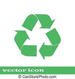 vettore, icon., icona, riciclare, simbolo., verde