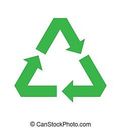 vettore, icon., riciclare, simbolo., verde