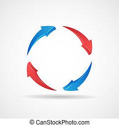 vettore, icona, astratto, ciclo, aggiornamento, 3d, sagoma, frecce, disegno, simbolo, illustrazione