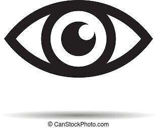 vettore, -, icona, illustrazione, occhio