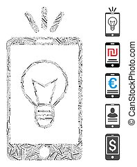 vettore, icona, lampada, mobile, linea, collage, luce