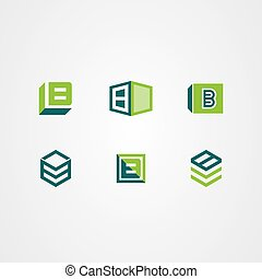 vettore, icona, logotipo, scatola, 3d, set