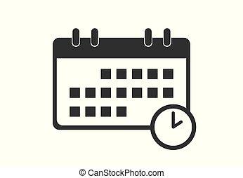 vettore, icone, calendario, illustrazione