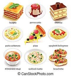 vettore, icone cibo, set, italiano