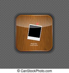 vettore, icone, foto, illustrazione, domanda, legno