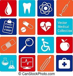 vettore, icone, medico, collezione