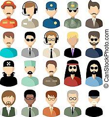 vettore, icone, set, appartamento, men., illustrazione