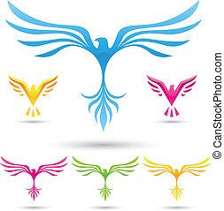 vettore, icone, uccelli
