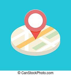 vettore, illlustration., icona, gps, 3d, concetto, application., isometrico, mobile