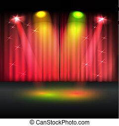 vettore, illuminato, sagoma, palcoscenico
