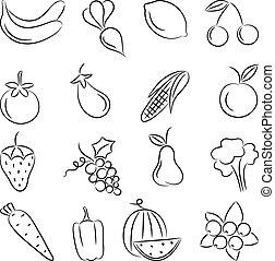 vettore, illustration., cibo.