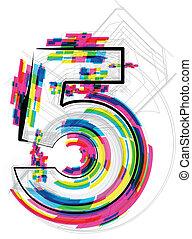 vettore, illustration., numero, illustrazione, 5., font