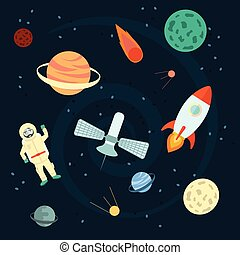 vettore, illustration:, set, ufo, illustration., spazio, orbite, satellite, meteorite., icons., cartone animato, astronauta, stelle, cometa, pianeti, apollo, cosmos., razzi, casato