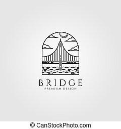 vettore, illustrazione, arte, logotipo, minimo, disegno, linea, ponte