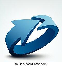 vettore, illustrazione, astratto, freccia, disegno, logotipo, 3d