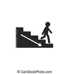 vettore, illustrazione, camminare, upstair, persone, giù