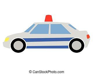 vettore, illustrazione, colorato, automobile, polizia