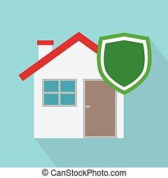 vettore, illustrazione, concept-, assicurazione casa