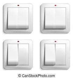 vettore, illustrazione, luce, switch.