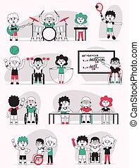 vettore, illustrazione, scene, bambini, carattere, vita, set, invalido