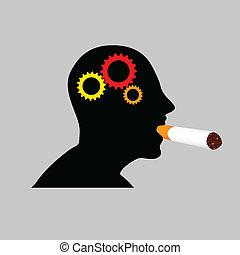 vettore, illustrazione, sigaro, uomo