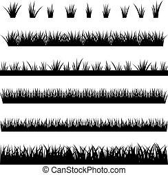 vettore, illustrazione, silhouette, fondo, collezione, bianco, erba