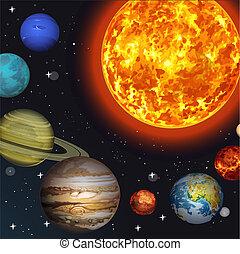 vettore, illustrazione, sistema, solare