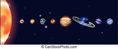vettore, illustrazione, sistema solare