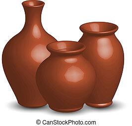vettore, illustrazione, vasi