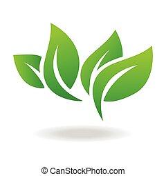 vettore, illustrazione, verde, icona, eco, isolated., foglia