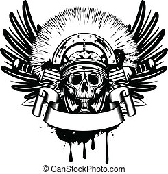 vettore, immagine, attraversato, spada, casco, cranio