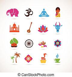 vettore, india, collezione, icone