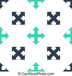 vettore, indicazione, bianco, quattro, isolato, fondo., verde, seamless, modello, frecce, icona
