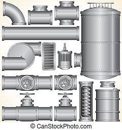 vettore, industriale, elementi