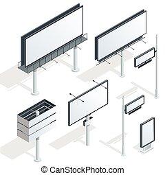 vettore, infographic., billboard., pubblicizzare, luce, città, appartamento, isometrico, illustrazione, tabelloni, 3d