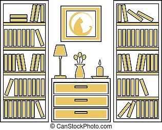 vettore, interno, casa, disegno, illustration.