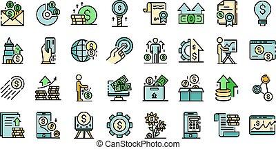 vettore, investitore, appartamento, icone
