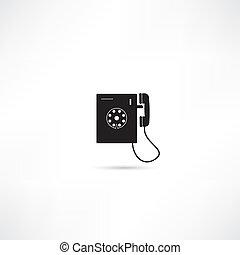 vettore, isolato, icona, telefono