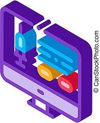vettore, isometrico, icona, domanda, computer, iniezione, illustrazione